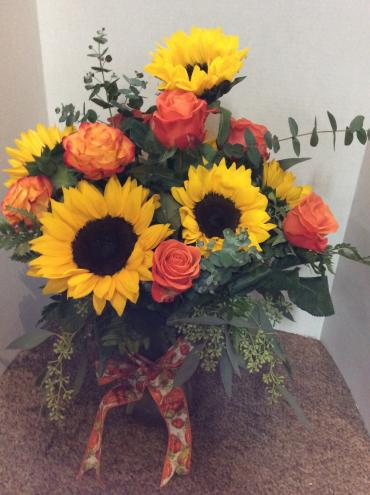 Orange Roses and Sunflowers